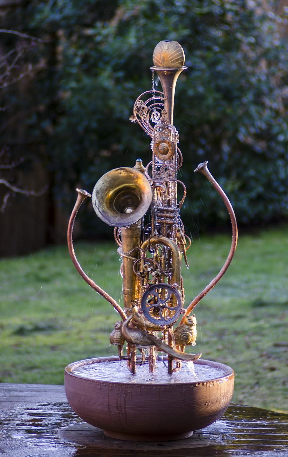 waterfeature, fountain, musical instrument sculpture
